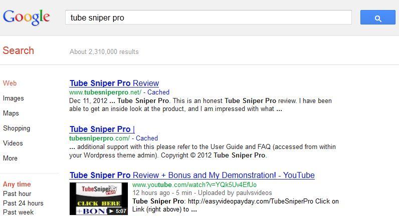 TubeSniperPro ranking results2